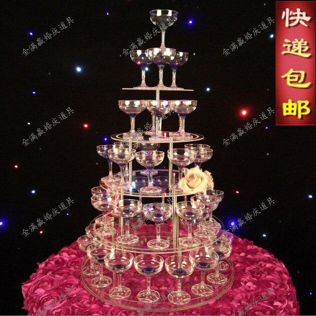 Tour à champagne de mariage à 5 niveaux | Accessoires d'approvisionnement de mariage à 5 niveaux, tour à vin en acrylique transparent, gobelet à 5 couches, tour à champagne