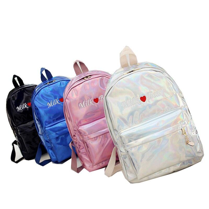 Fashion Women Backpack Embroidery Letter Laser Leather Backpacks for Teenage Girls Female School Shoulder Bag Bagpack mochila
