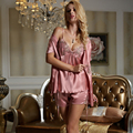 XIFENNI Brand Women Satin Silk Pajamas Summer Short-Sleeved Shorts Three-Piece Pyjama Sets Lace Embroidery Sleepwear 1532