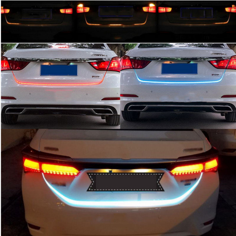 Flowing Ice Blue Red Yellow White LED Strip Lighting Rear Trunk Tail Light Streamer Brake Turn Signal Reverse Leds Warning Light 2x dual color 42smd 2835 white ice blue