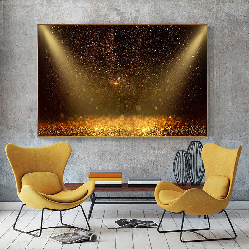 Nordic Golden Sunset with Black Canvas Painting Posters And Prints Scandinavian Wall Art Pictures For Living Room Cuadros decor