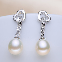 Romantic Girls Favorite Hanging Dangling Fancy Drop Shape 8 8 5mm Cultured Freshwater Bridal Pearl Earrings