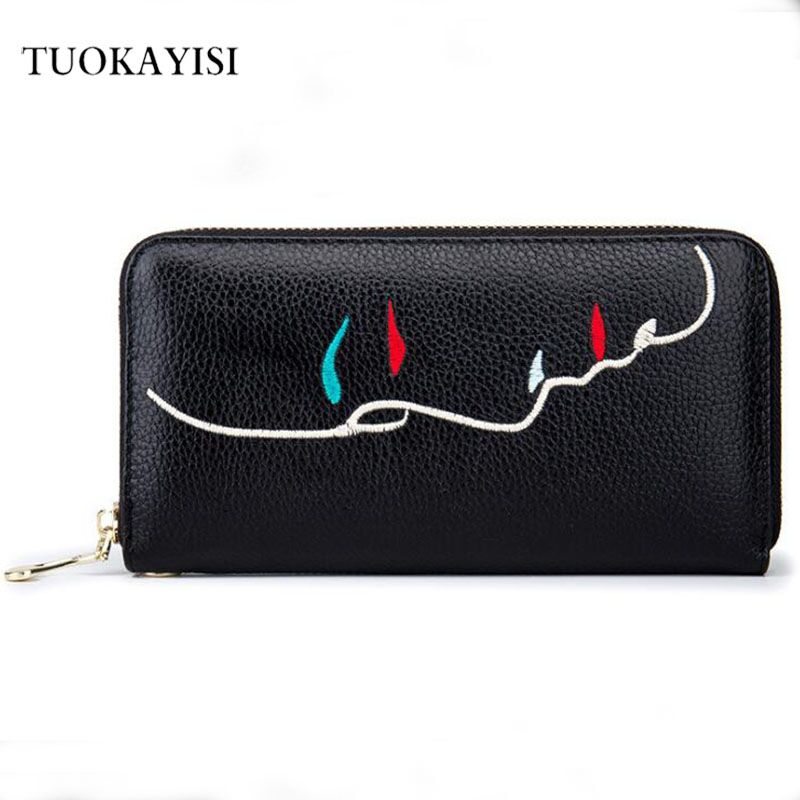 Womens Zipper Wallets Genuine Cow Leather Ladies Purses Lady Coin Pocket Red Long Wallet Female Clutch Bag For Women Gift цена