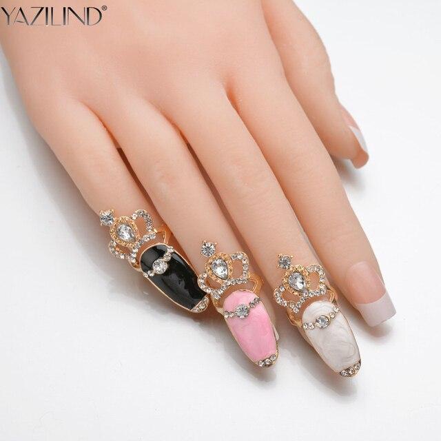 YAZILIND Fashion Crystal Flower Nail Rings Rhinestone Crown Nail Art ...
