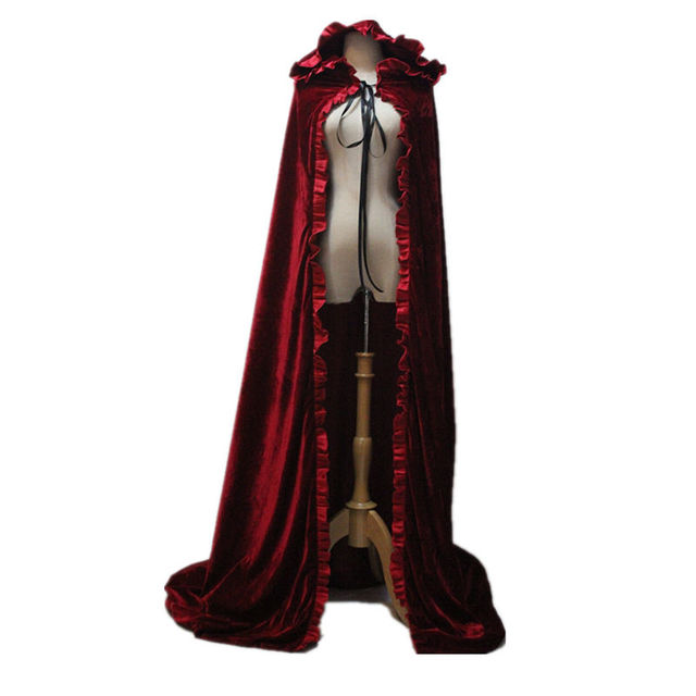 free shipping adult witch long red black halloween cloaks hood and capes halloween costumes for women