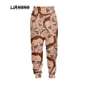 Image 2 - LIASOSO Осенние новые мужские и женские модные брюки с 3D принтом звезда Николя клетка Брюки Спортивные Фитнес свободные хип хоп брюки B054 09