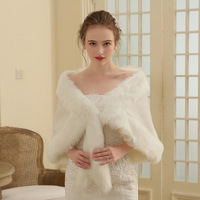 In Stock Warm Ivory Faux Fur Shawls Bridal Jacket Cape Wraps for Party Prom 2019 New Arrivals