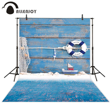 Allenjoy baby backdrop Blue wood board children swimming ring boat toys birthday photocall photography backgrounds photo studio