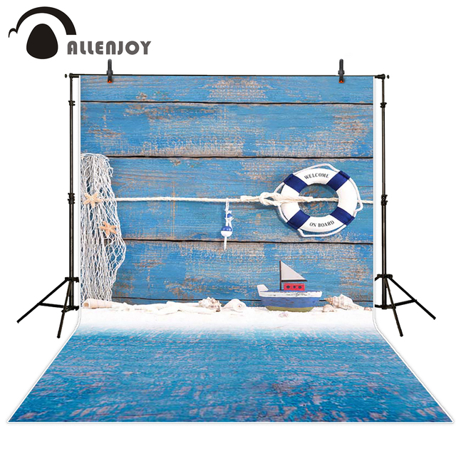 Allenjoy baby backdrop Blue wood board children swimming ring boat toys photocall photograph backgrounds for photo studio