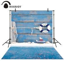 Allenjoy الطفل خلفية الأزرق سبورة خشبية الأطفال طوافة بلاستيكية للسباحة قارب اللعب عيد ميلاد التصوير الفوتوغرافي الخلفيات استوديو الصور