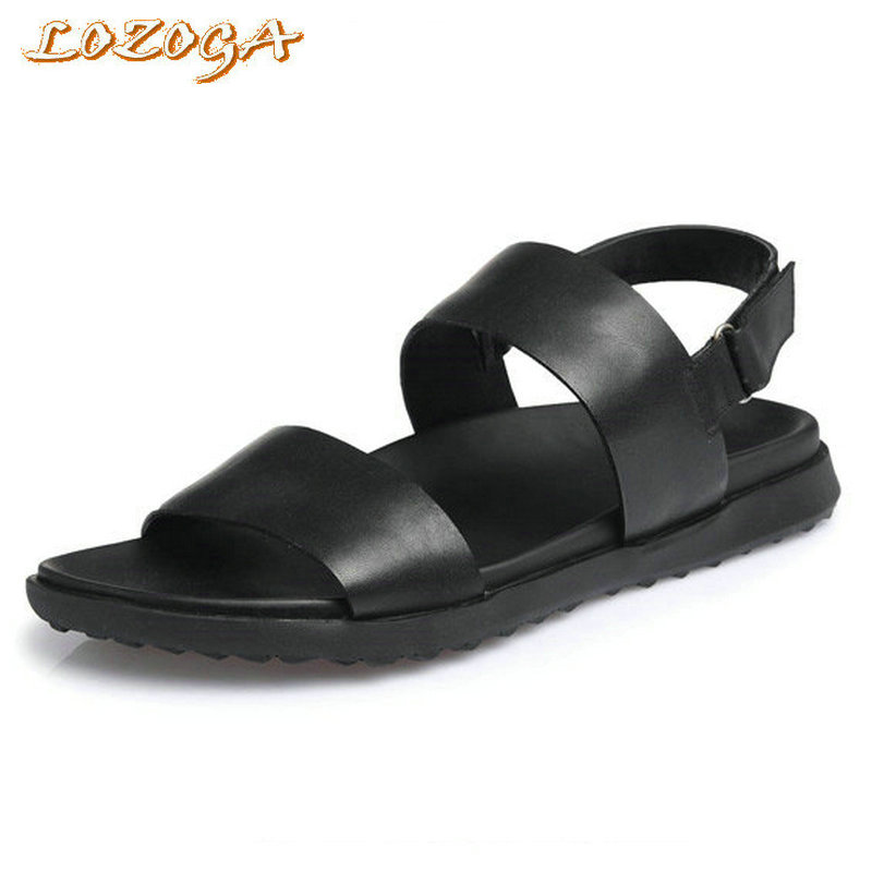 Handmade Classics Men Sandals Genuine Leather Casual Shoes High Quality Man Summer Beach Sandals Black Outdoor Brand New Sandals relikey brand men casual handmade shoes cow suede male oxfords spring high quality genuine leather flats classics dress shoes