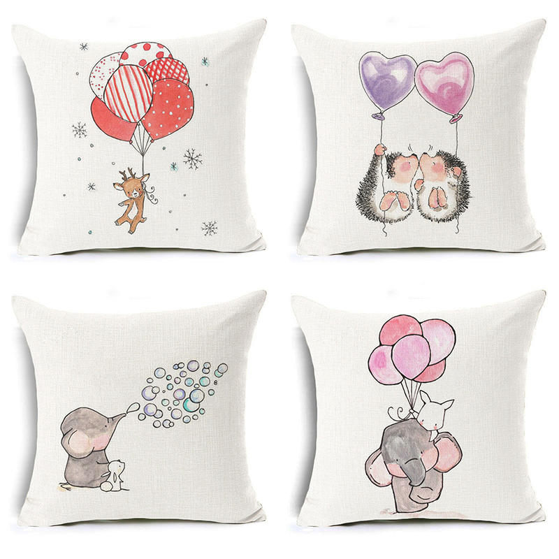Homing New Arrive Children Bedroom Decoration Lovely Cartoon Flying Deer Elephant Hedgehog with Balloon Pattern Cushion Cover