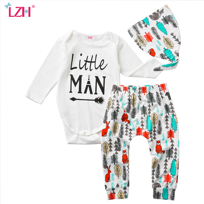 LZH Newborn Clothes 2017 Autumn Winter Baby Boys Clothes Set Rompers+Pants+Hat 3pcs Baby Boys Girls Outfit Suit Infant Clothing he hello enjoy baby rompers long sleeve cotton baby infant autumn animal newborn baby clothes romper hat pants 3pcs clothing set