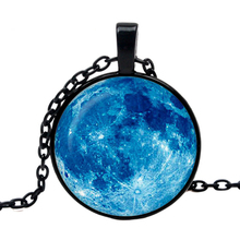 blue moon pendant full moon necklace glass photo blue outer space Star jewelry women's fashion 2019 Handmade Jewelry wholesale цена в Москве и Питере