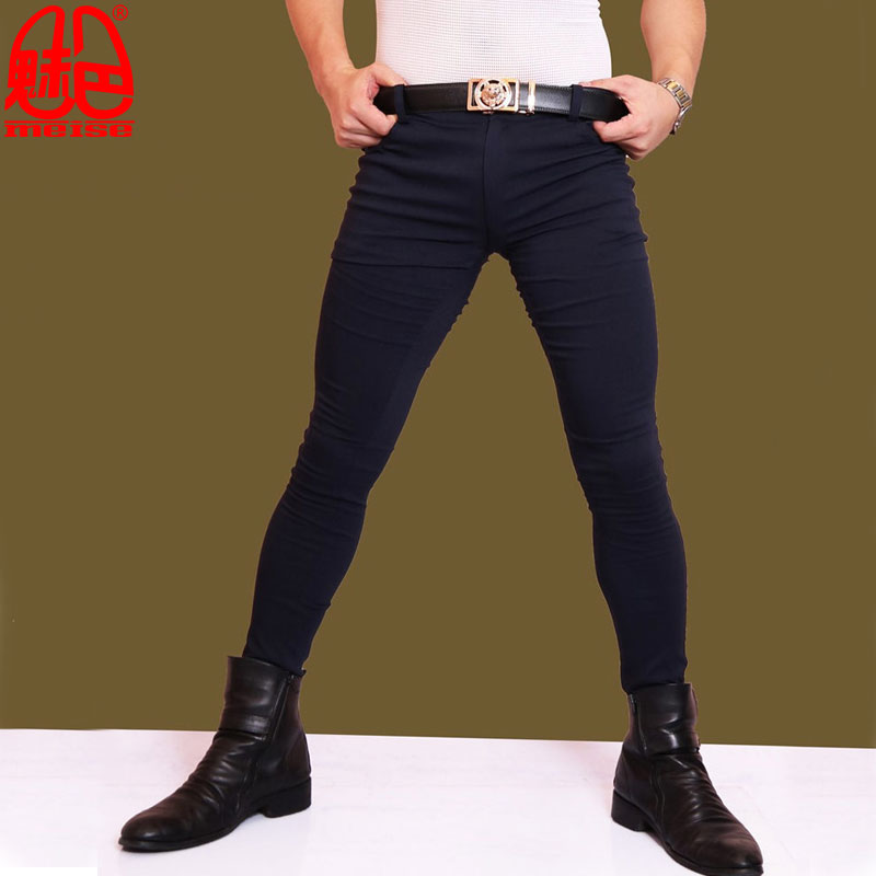 Sexy Men Fashion Jeans Elastic Pencil Pants Casual Soft Comfortble Tight Trousers Erotic Lingerie Club Gay Wear Plus Size F73