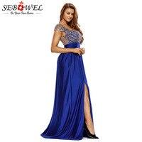 SEBOWEL Elegant Women Evening Gold Lace Party Dress 2018 Side Split Backless Maxi Long Dresses High Waist Ladies Formal Gown