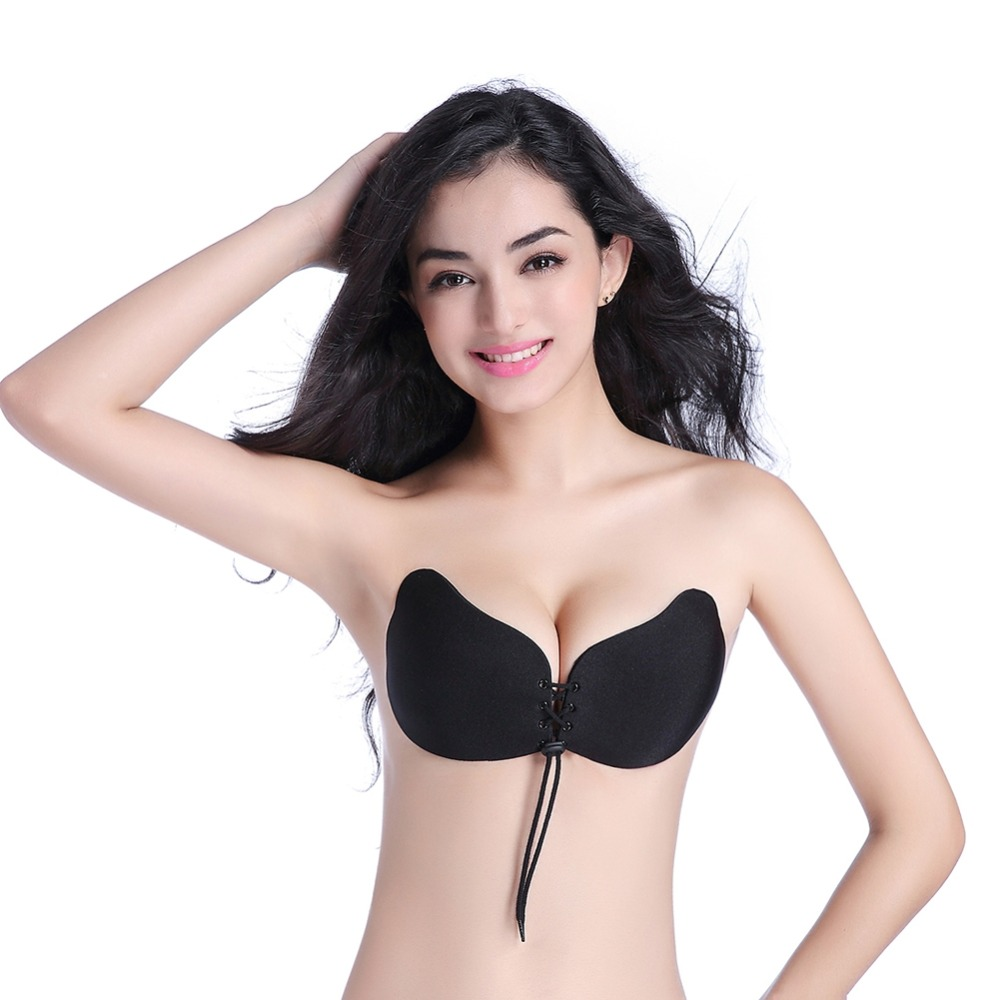 Hot Sale Sexy Lingerie Solid Women Underwear Invisible Push Up Bra Paste Seamless Strapless Adhesive Silicone Backless Wedding