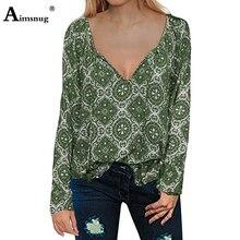 Streetwear Geometric Print Green Tops V-neck Long Sleeve Loose Drawstring Female Blouse 2019 New Autumn Women Pullover Shirt fashionable slimming geometric print v neck blouse for women