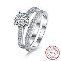100 Real 925 Sterling Silver Engagement Ring With AAA Zircon Woman Fashion Jewelery Queen Style