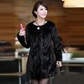 2016 Nova Marca Mulheres Reais Casaco de Pele De Vison de Luxo Genuine Mink Casaco de peles Da Senhora Moda Inverno Verdadeira Pele De Vison Outwear Plus Size