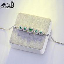 1b828f09910e Effie reina de moda pulseras del encanto para las mujeres con AAA Cubic  Zircon piedra verde en forma de corazón de joyería femen.