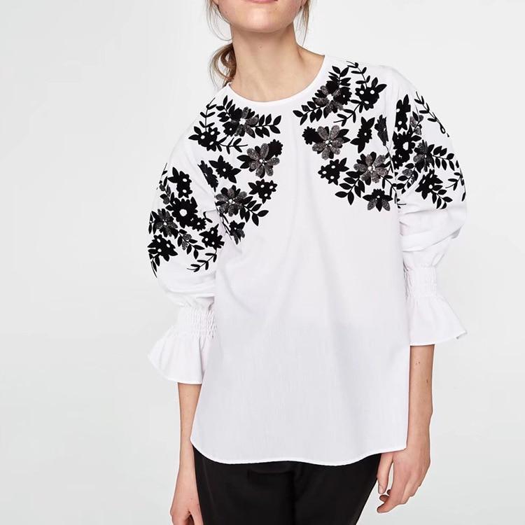 Zanzea Plein Patchwork O-cou Blusas Limitée Coton Tissé Plus La Taille Femmes Tops 2018 Printemps Nouveau Modèle Spectacle Perle Chemise À Manches
