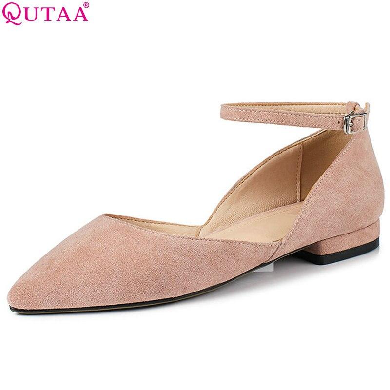 QUTAA 2018 Women Pumps Pink Fashion Women Shoes Platform Square Low Heel Flock Buckle Pointed Toe Women Pumps Size 34-43 цена 2017