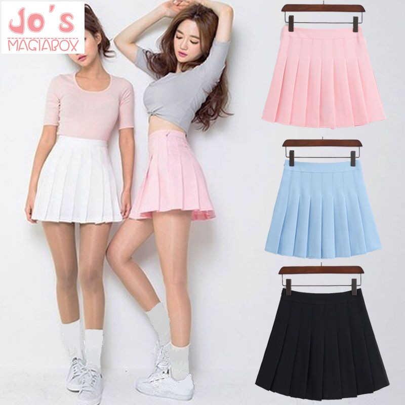 2019 новые весенние плиссированные юбки с высокой талией Harajuku джинсовые юбки однотонная трапециевидная Матросская юбка больших размеров японская школьная форма