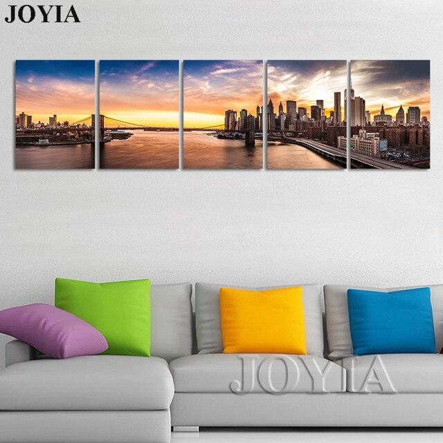 New York Wall Art Nightfall Cityscape Pictures Brooklyn Bridge ...