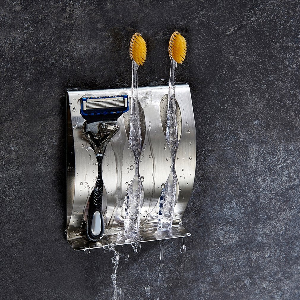 Stainless Steel 3 Holes Toothbrush Holder Wall Mounted