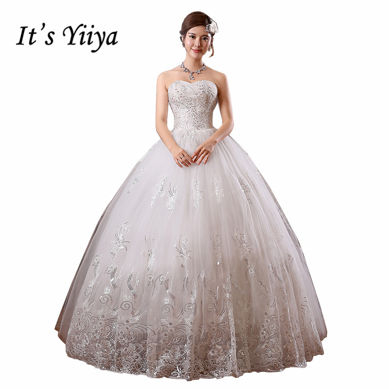 2017 Custom Made  Real Photo Plus size Sequins Strapless Lace Wedding Dresses Cheap White Bride Frocks Vestidos De Novia HS099