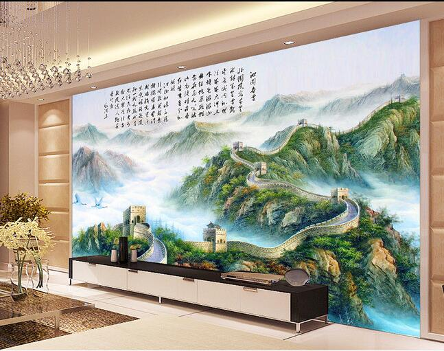 Us 1595 48 Off3d Wallpaper Custom Non Woven Mao Zedongs Poems Calligraphy And Painting The Great Wall Of Setting Wall Patio Spring Snow In