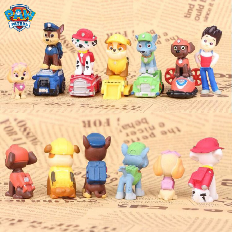 12pcs/set Paw Patrol Dog Ryder Marshall Puppy Patrol Car Patrulla Canina Action Figures Vinyl Doll Toy Kids Children Toys Gifts