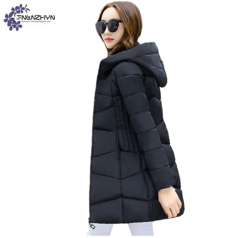 2017 Women Winter Down Jacket Hooded Solid Color Warmer Cotton-padded Outerwear parka Thicken Large Size High-End Ms Jacket Coat tnlnzhyn 2018women winter jacket coat thicken warmer hooded cotton down jacket high end medium long ms clothing outerwear wa890