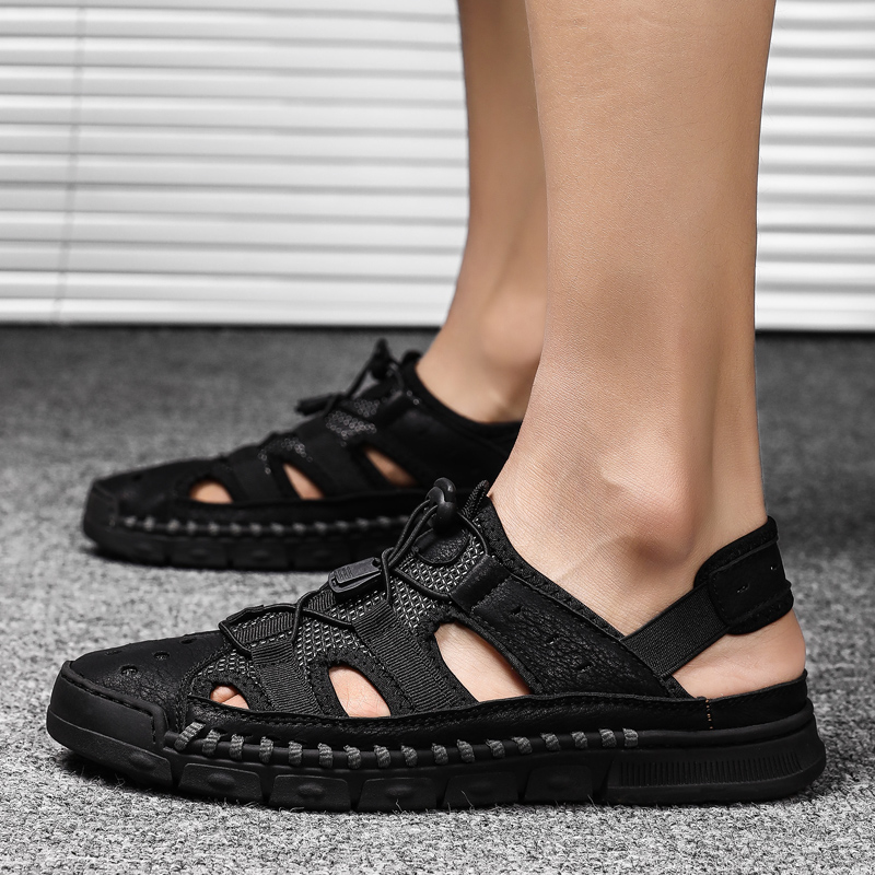 2019 Comfortable Handmade Men Sandals Soft Summer Men's Shoes Retro Sewing Casual Beach Shoes HH-1313(China)