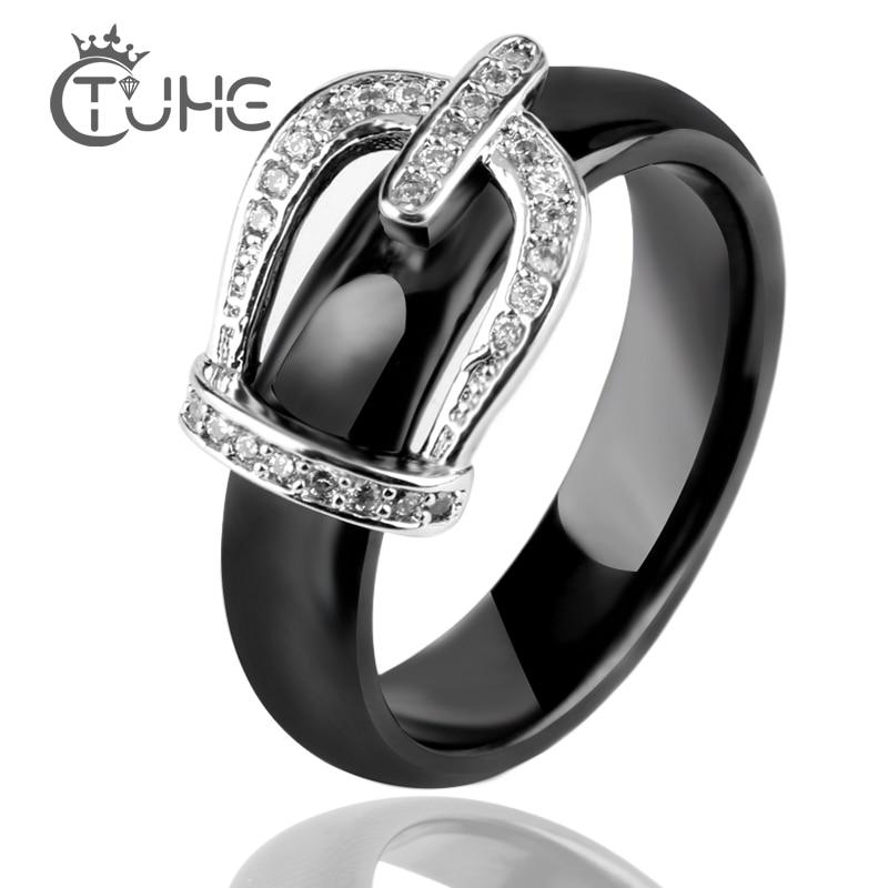 Új gyűrű ékszerek CZ kő rozsdamentes acél öv korona gyűrű fekete fehér nagy méret 10 11 12 kerámia nagy gyűrű férfiak nők ékszerek