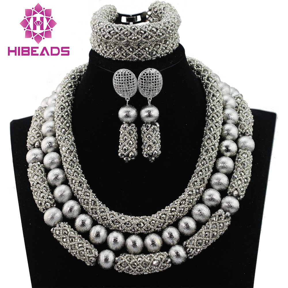 Shinny Silver Indian Bridal Crystal Jewelry Set Women Wedding Necklace Earrings Statement Jewelry Set Gift Free Shipping ABL202