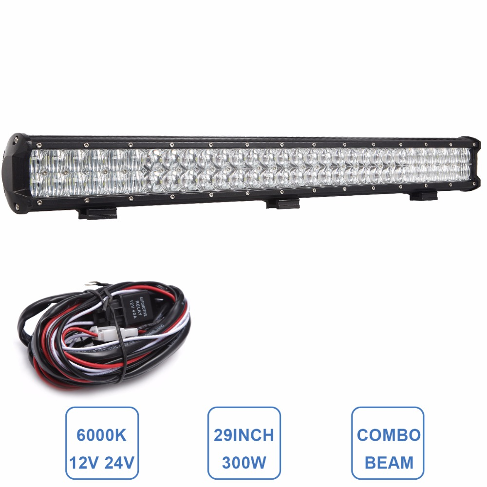 300W Offroad LED Light Bar 5D Driving Headlight 12V 24V Boat Car Tractor Truck 4x4 SUV ATV Farm Trailer Wagon Pickup Combo Lamp 32 300w curved led bar combo offroad driving light atv suv 4x4 truck trailer camper tractor pickup wagon utv 4wd off road lamp