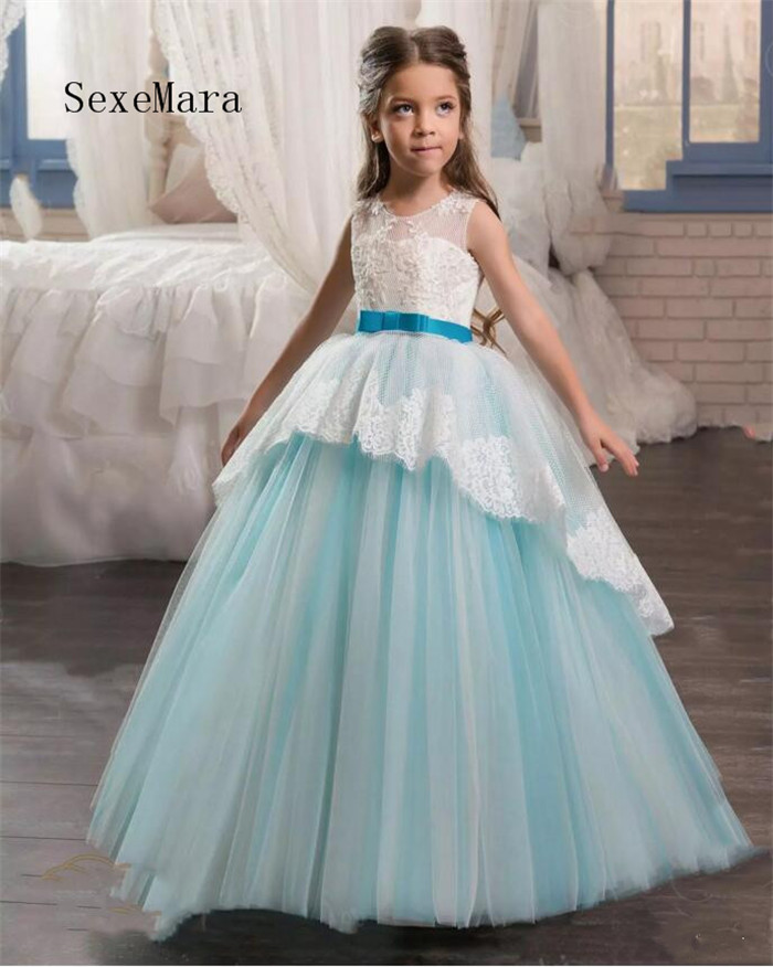 2018 Arabic Flower Girls Dresses For Weddings Sleeveless Lace Appliques Ball Gown Birthday Girl Communion Pageant Gown Any Size цена