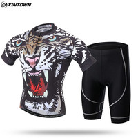 XINTOWN Men's Short Sleeve Cycling Jersey With BIb Shorts Tiger Bicycle Team Sportswear Roupa Ciclismo/Cycling Clothing Sets