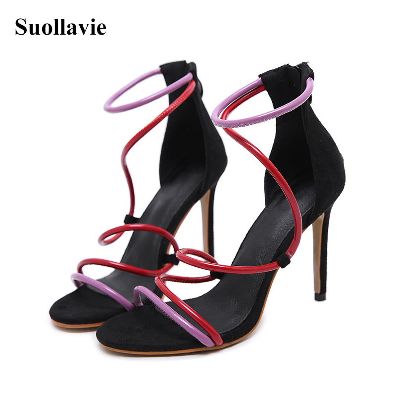Sexy Sandals Stiletto Women Heel Sandals Open Toe Mixed Color Ladies Party Shoes 2019 Summer Gladiator Sandals Size 35 40 in High Heels from Shoes