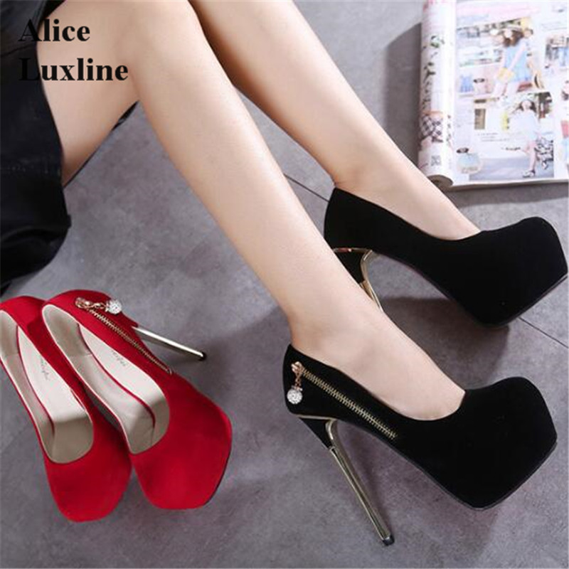 15CM Red Black Super women High Heels pumps zipper Sexy ladies Party Shoes Thin Heels Platform Pumps Plus Size 40 Zapatos Mujer 15cm red black super women high heels pumps zipper sexy ladies party shoes thin heels platform pumps plus size 40 zapatos mujer