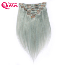 Dreaming Queen Hair Straight Hair Clip In Brazilian Remy Human Hair Extensions Silver Grey Color 7 Pieces/Set 120g Clips