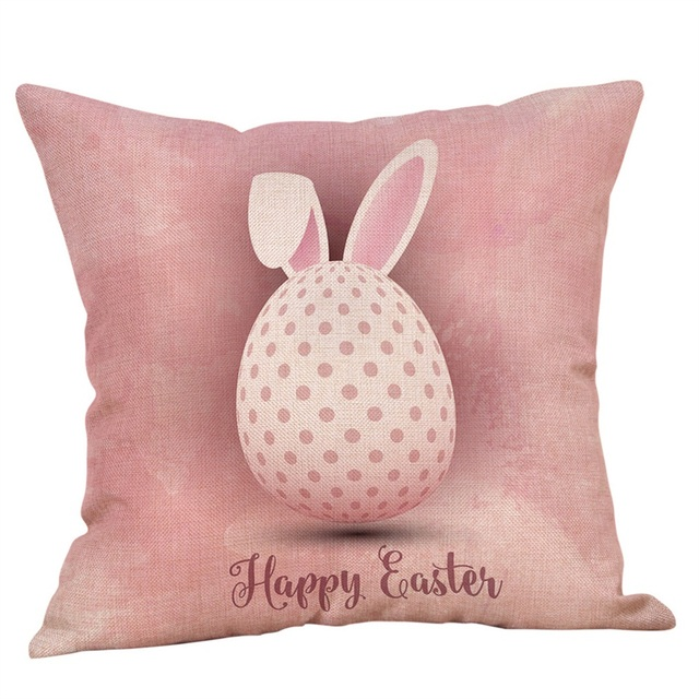 Bunny Printed Pillow Case for Easter Decoration