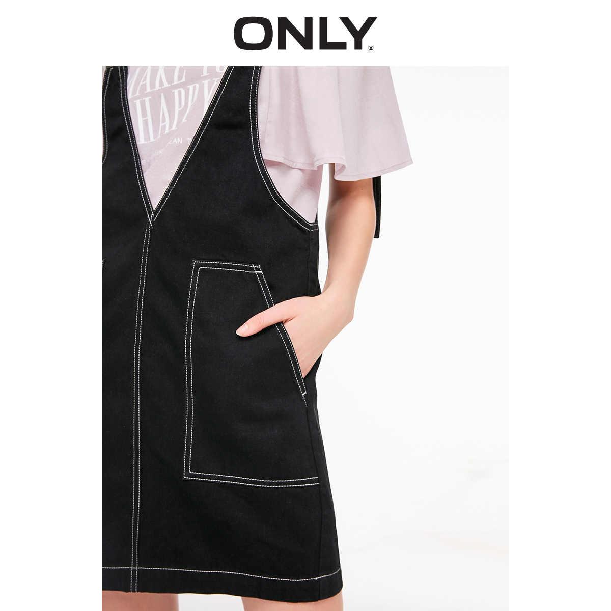 Только 2019 Весна Лето Новое прямое платье из джинсовой ткани на подтяжках | 119142507