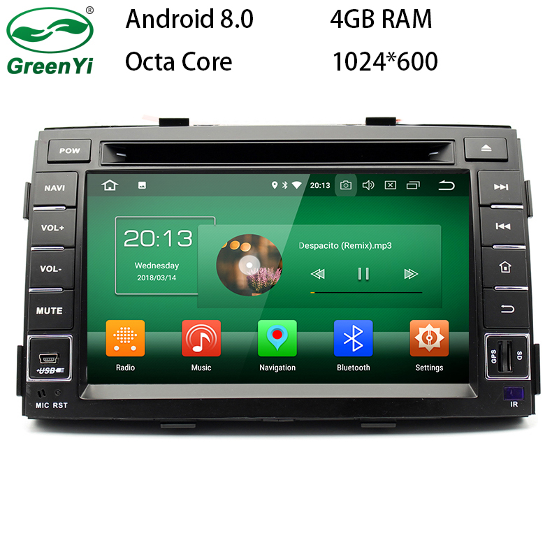 GreenYi 1024x600 4GB RAM Android 8.0 Car DVD Radio For Kia Sorento 2009 2010 2011 2012 2013 Auto Stereo GPS Nagavition Headunit цена