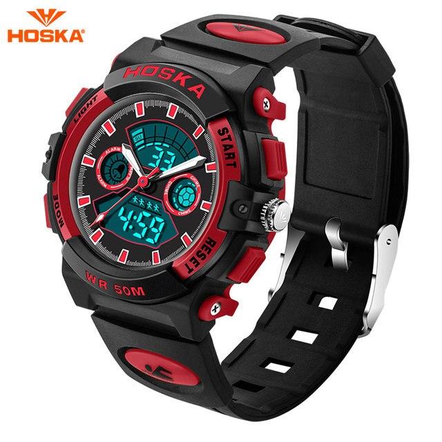 HOSKA Children Waterproof Outdoor Sports G Style Shock Watches Men Quartz Digital Watch LED Backlight Watch Relogio Masculino
