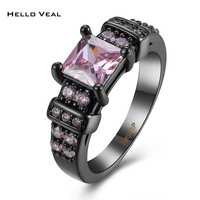 Fashion Flower Shiny Red Ring Red Garnet Women Charming Engagement Jewelry Black Gold Filled Promise Rings