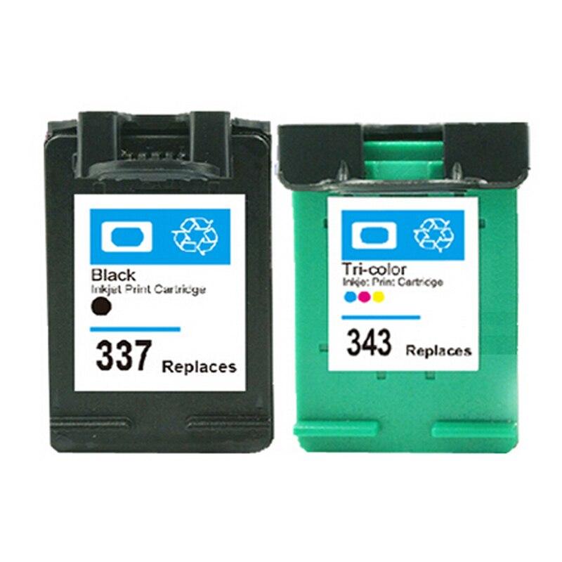 2x kompatibel hp 337 343 hp337/hp343 tintenpatronen für Photosmart 8153 8450 8450gp...
