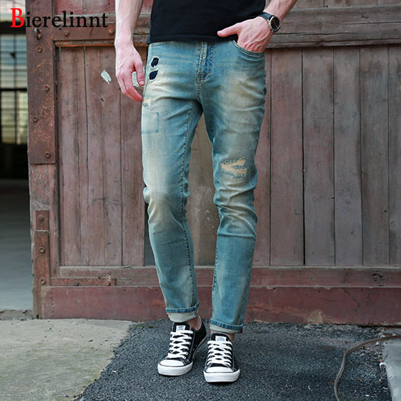 2018 New Autumn Elastic Fashion Cotton Denim Good Quality Men Jeans,Ripped Hole Straight Slim Fit Jeans Men,162042